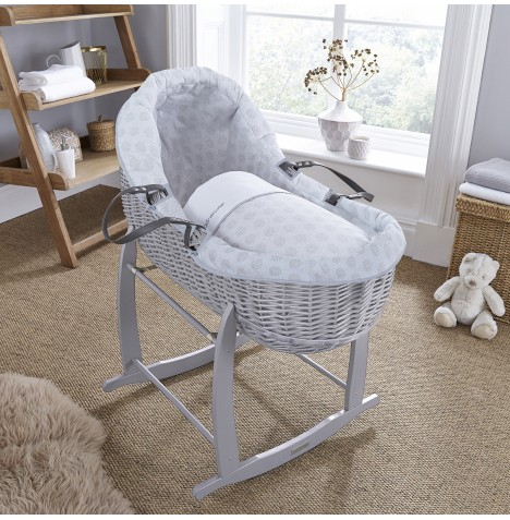 Clair De Lune Grey Willow Bassinet Moses Basket - Speckles Grey