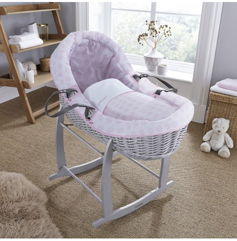 Clair De Lune Grey Willow Bassinet Moses Basket - Speckles Pink