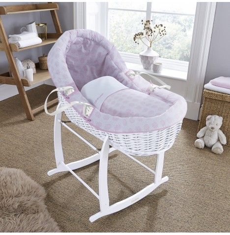Clair De Lune White Willow Bassinet Moses Basket - Speckles Pink