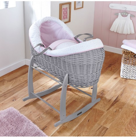 Clair De Lune Grey Wicker Crossover Noah Pod - Stars & Stripes Pink