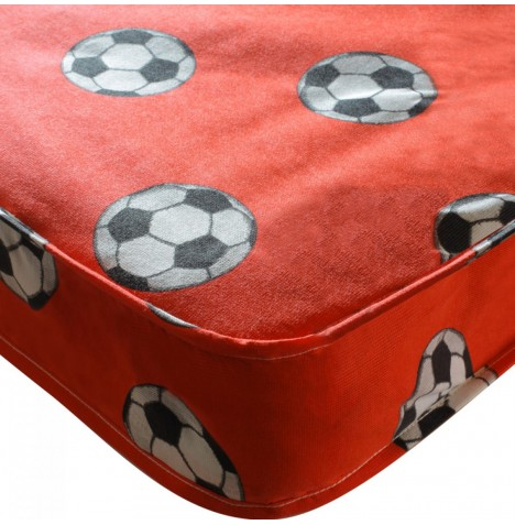 Kidsaw Football Sprung Single Bed Safety Mattress 190 x 90cm - Red