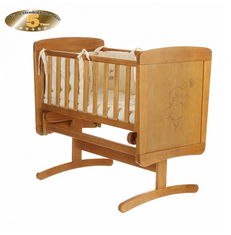 Obaby B Is For Bear Gliding Crib & Foam Mattres - Country Pine