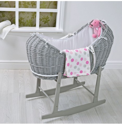 4baby 5 Piece Grey Wicker Snooze pod With Rocking Stand - Pink Spot