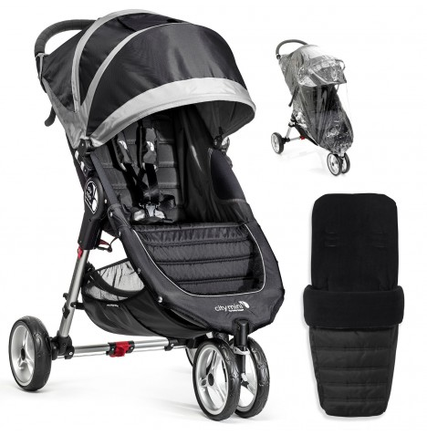 Baby Jogger City Mini Single Stroller With Footmuff & Raincover - Black