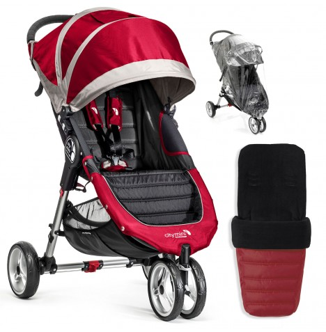 Baby Jogger City Mini Single Stroller With Footmuff & Raincover - Crimson