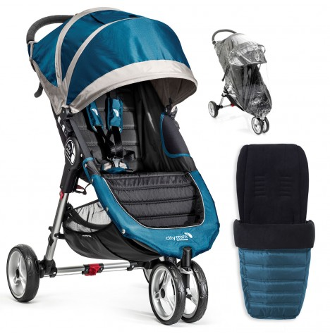 Baby Jogger City Mini Single Stroller With Footmuff & Raincover - Teal