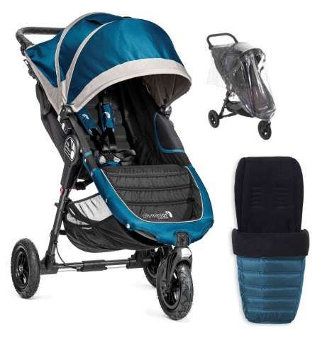 Baby Jogger City Mini GT Single Stroller With Footmuff & Raincover - Teal