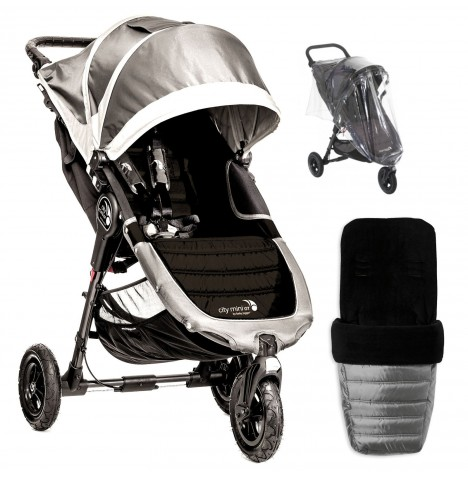 Baby Jogger City Mini GT Single Stroller With Footmuff & Raincover - Steel Grey