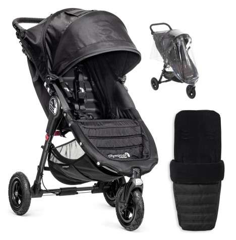 Baby Jogger City Mini GT Single Stroller With Footmuff & Raincover - Black