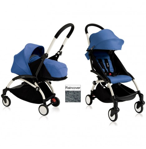 Babyzen YoYo+ 2 in 1 Pram / Pushchair Newborn Complete Package - White / Blue