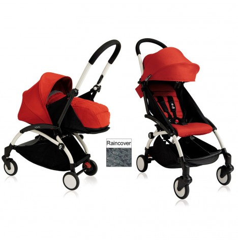 Babyzen YoYo+ 2 in 1 Pram / Pushchair Newborn Complete Package - White / Red
