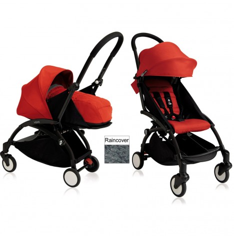 Babyzen YoYo+ 2 in 1 Pram / Pushchair Newborn Complete Package - Black / Red