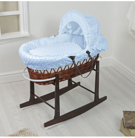 4Baby Padded Dark Wicker Moses Basket & Rocking Stand - Blue Dimple