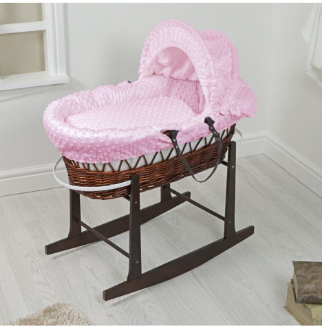 4Baby Padded Dark Wicker Moses Basket & Rocking Stand - Pink Dimple