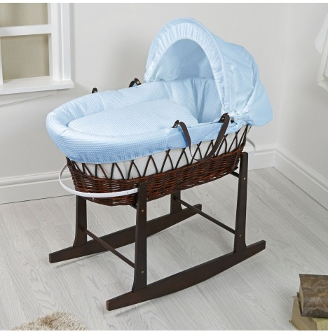 4Baby Padded Dark Wicker Moses Basket & Rocking Stand - Waffle Blue