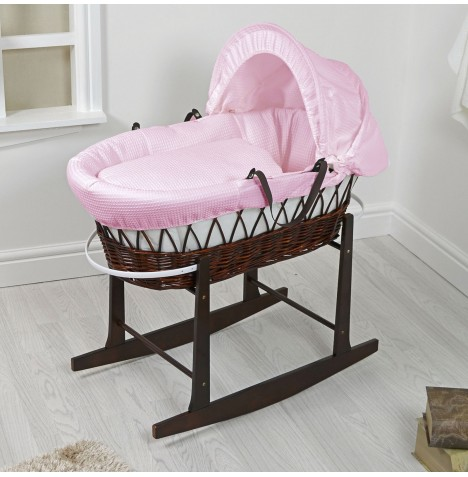 4Baby Padded Dark Wicker Moses Basket & Rocking Stand - Pink Waffle