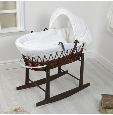 4Baby Padded Dark Wicker Moses Basket & Rocking Stand - White Waffle