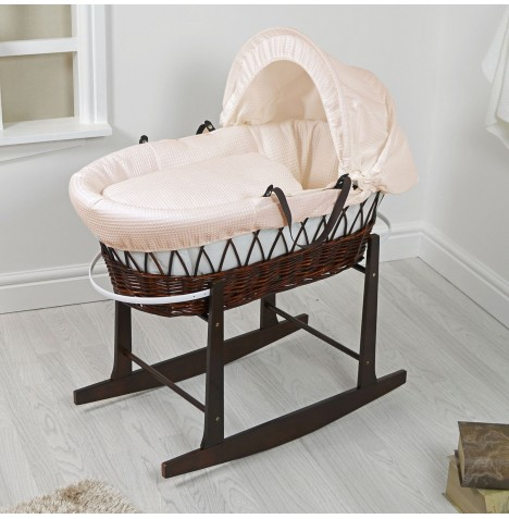 4Baby Padded Dark Wicker Moses Basket & Rocking Stand - Cream Waffle