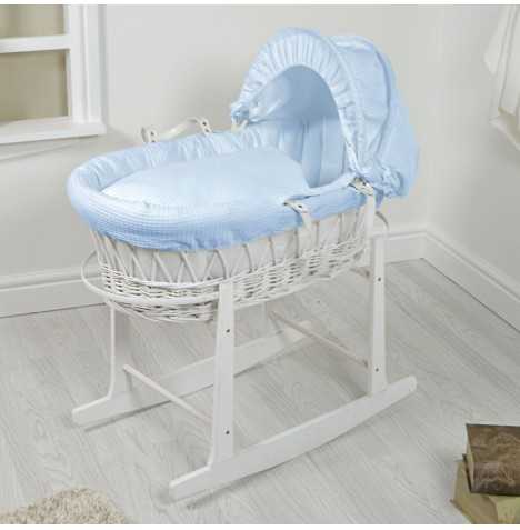 4Baby Padded White Wicker Moses Basket & Rocking Stand - Blue Waffle