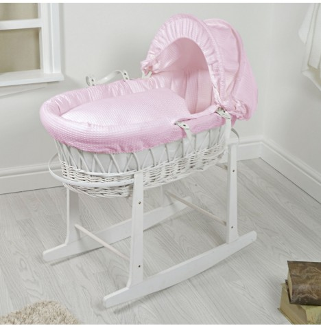 4Baby Padded White Wicker Moses Basket & Rocking Stand - Pink Waffle