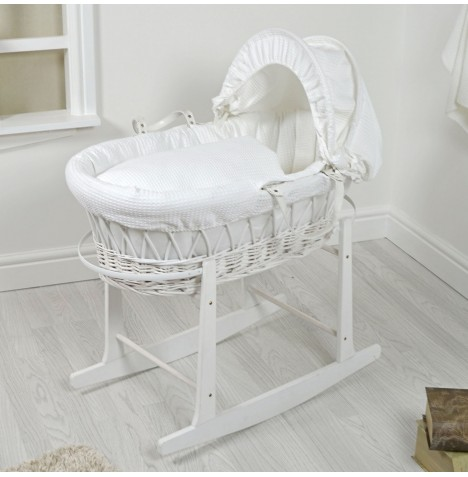 4Baby Padded White Wicker Moses Basket & Rocking Stand - White Waffle