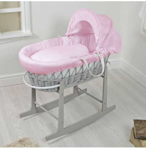 4Baby Padded Grey Wicker Moses Basket & Rocking Stand - Pink Waffle