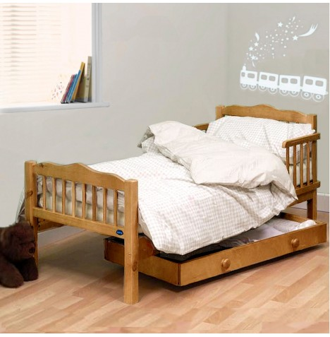 4Baby Sara Junior Toddler Bed With Sprung Deluxe Mattress - Country Pine
