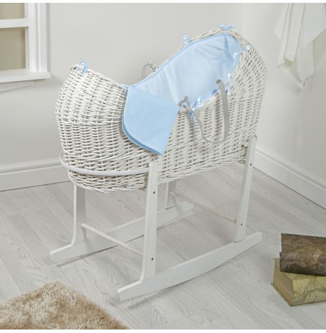 4baby White Wicker Snooze Pod & Rocking Stand - Blue Waffle