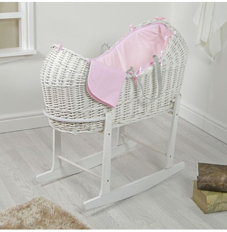 4baby White Wicker Snooze Pod & Rocking Stand - Pink Waffle