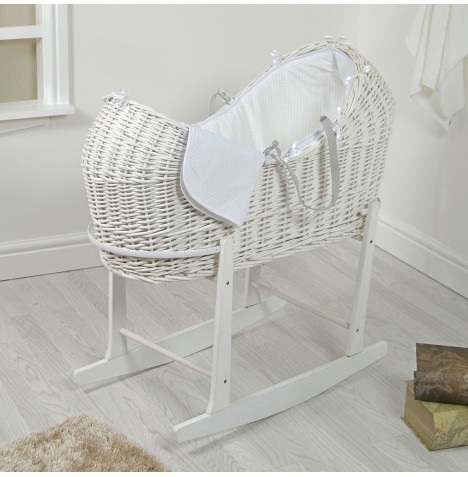 4baby White Wicker Snooze Pod & Rocking Stand - White Waffle