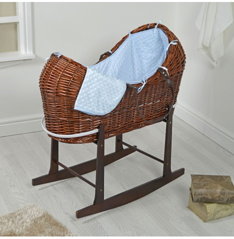 4baby Dark Wicker Snooze Pod & Rocking Stand - Blue Dimple
