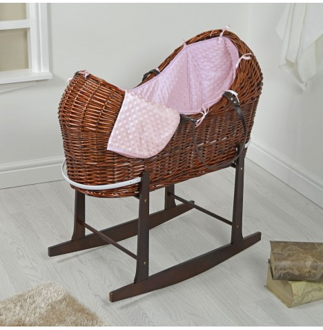 4baby Dark Wicker Snooze Pod & Rocking Stand - Pink Dimple