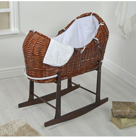 4baby Dark Wicker Snooze Pod & Rocking Stand - White Dimple