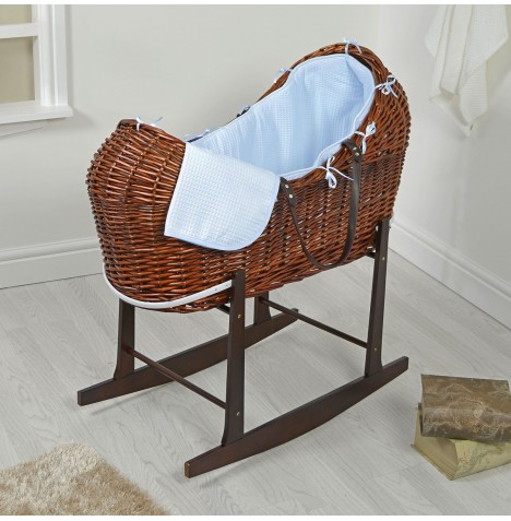 4baby Dark Wicker Snooze Pod & Rocking Stand - Blue Waffle