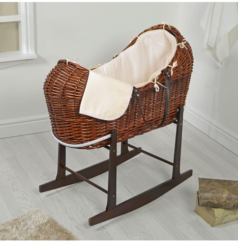 4baby Dark Wicker Snooze Pod & Rocking Stand - Cream Waffle
