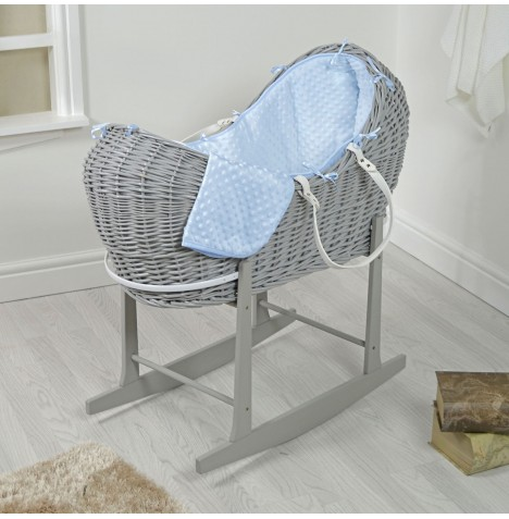 4baby Grey Wicker Snooze Pod & Rocking Stand - Blue Dimple