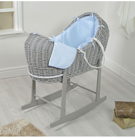 4baby Grey Wicker Snooze Pod & Rocking Stand - Blue Waffle