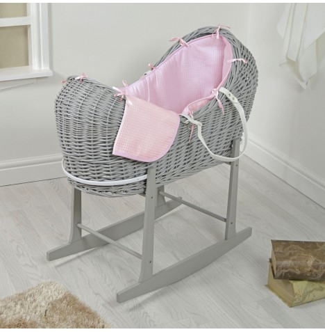 4baby Grey Wicker Snooze Pod & Rocking Stand - Pink Waffle