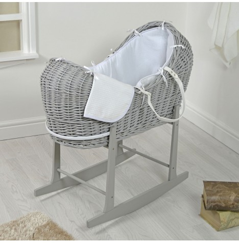 4baby Grey Wicker Snooze Pod & Rocking Stand - White Waffle