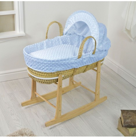 4baby Deluxe Palm Moses Basket & Rocking Stand - Dimple Blue