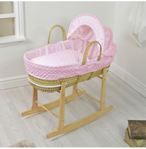 4baby Deluxe Palm Moses Basket & Rocking Stand - Dimple Pink