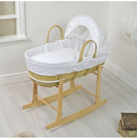 4baby Deluxe Palm Moses Basket & Rocking Stand - Dimple White