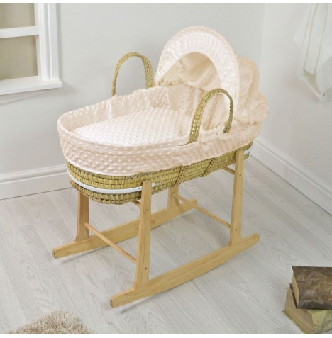 4baby Deluxe Palm Moses Basket & Rocking Stand - Dimple Cream