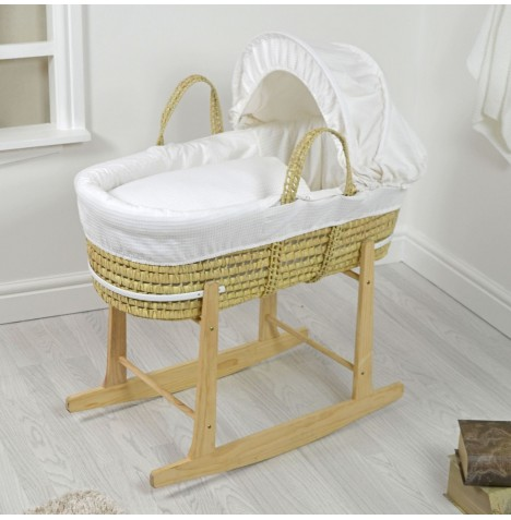 4baby Deluxe Palm Moses Basket & Rocking Stand - Waffle White
