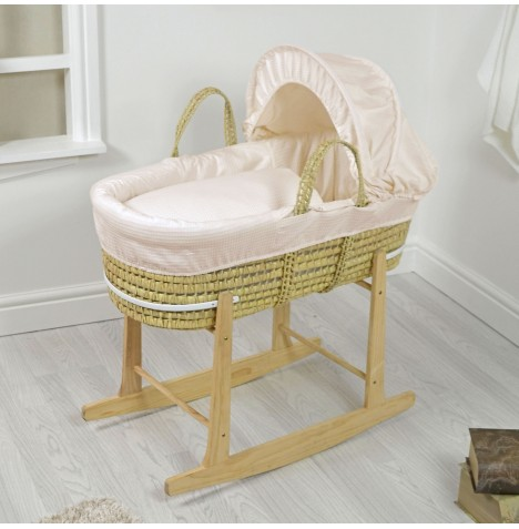 4baby Deluxe Palm Moses Basket & Rocking Stand - Waffle Cream