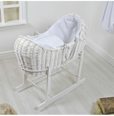 4baby White Wicker Snooze Pod & Rocking Stand - White Dimple