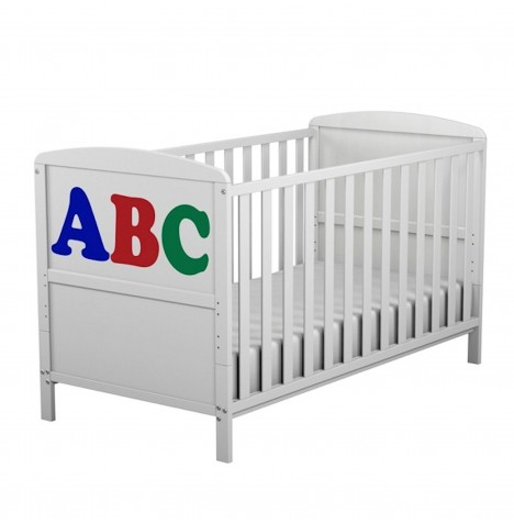 4Baby ABC Cot Bed With Deluxe Sprung Mattress - White