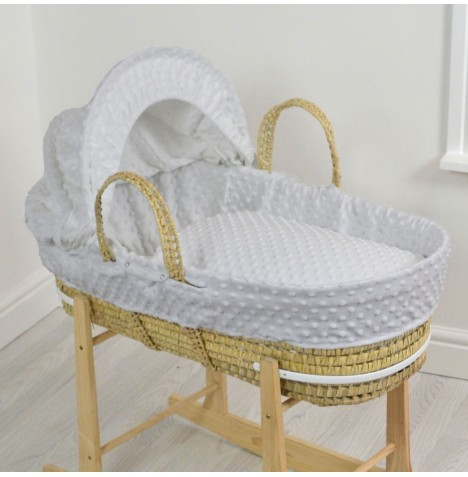 4baby Deluxe Palm Moses Basket - Dimple Grey