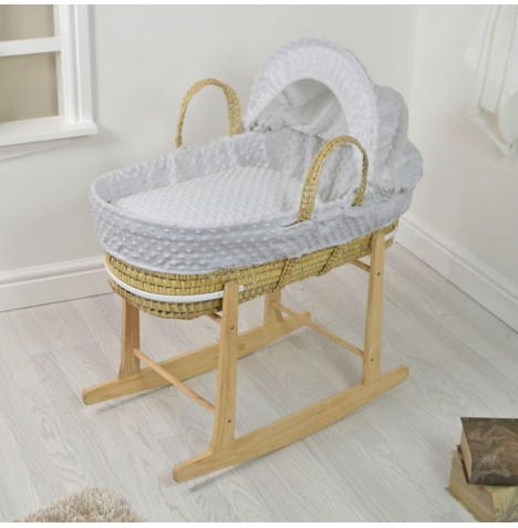 4baby Deluxe Palm Moses Basket & Rocking Stand - Dimple Grey