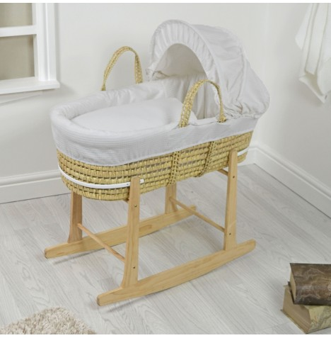 4baby Deluxe Palm Moses Basket & Rocking Stand - Waffle Grey